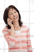 Wife, Woman using mobile phone and smiling happily