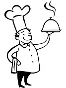 A chef holding a dish