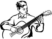 A young man playing a guitar