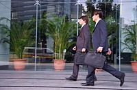 Two businessmen walking and holding briefcase together