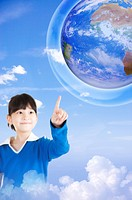 Lohas, Environmental Conservation, Little girl pointing at the earth with smile (thumbnail)