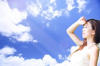 Lohas, Environmental Conservation, Digitally generated image of woman looking away in the blue sky