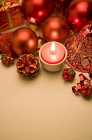 Candle and Christmas ornament