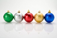 A row of Christmas baubles