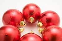 Red Christmas baubles forming a circle