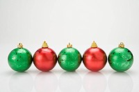 A row of Christmas Bauble