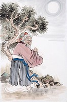 Match maker, also called the Aged under the Moon, a Chinese mythical god who is in charge to bound people´s marriage, blessing people for love
