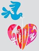 A bird flying with a heart spelling the word Love
