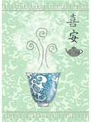 A tea cup and pot on a Japanese inspired background