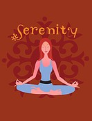 A woman in a yoga pose and the word Serenity