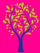A fruit tree with birds in it on a pink background