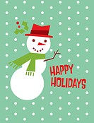 A snowman on a green polka dot background and the words Merry Christmas