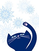 A cat playing with snowflakes