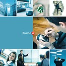 Montage of different corporate related photos _ business concepts