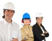Civil engineer smiling with a group behind him isolated