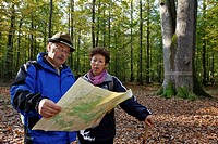 A COUPLE OF SENIOR CITIZENS WITH A TOPOGRAPHICAL MAP FOR A WALK IN THE FOREST OF SENONCHES, EURE_ET_LOIR 28, FRANCE