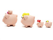 Rear view of a piggy bank family isolated