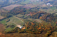 Aerial view of Minnesota horse farms and estates in Autumn