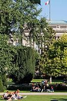 PARK PLACE DE LA REPUBLIQUE, UNIVERSITY LIBRARY, STRASBOURG, BAS RHIN 67, ALSACE, FRANCE, EUROPE