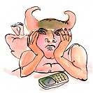 A man with horns waiting by the phone