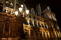 Hotel de Ville in Paris France at night