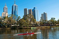Rowers on the Yarra River against the backdrop of the Melbourne skyline