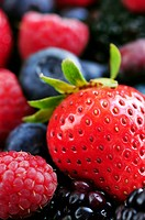 Background of assorted fresh berries close up