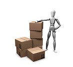 3D render of a man with a stack of boxes