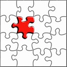 Jigsaw background with one piece prominent