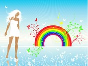 Female on rainbow floral background