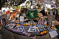 A private altar honoring a deceased person at Los Angeles´ Pueblo in honor of the Day of the Dead. The Day of the Dead D'a de los Muertos in Spanish i...