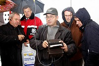 A group of specialists watches testing of the LPG propane_butane quality at Lukoil's tank farm in Boryspil Borispol in Central Ukraine near Kyiv Kiev....