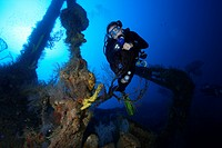 Scuba Diver at Shipwreck of Bianca C, Caribbean Sea, Grenada