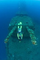 Diver and Twin 8_inch 55 caliber Gun on USS Saratoga, Bikini Atoll, Micronesia, Pacific Ocean, Marshall Islands