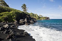 Black Sand Beach at Waianapanapa State Park on Road to Hana, Maui, Hawaii, USA