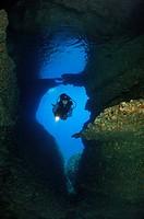 Diver inUnderwater Cave, Bili Rat, Vis Island, Adriatic Sea, Croatia