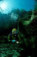 Scuba diving in a freshwater river scuba diver traun, Steiermark Gruener See, Austria