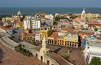 view, Old Town, Puerta del Reloj, Colonial Quarter, Cartagena, Department Bolivar, Colombia, South America
