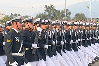 Escuela Naval in Military Parade of Santiago city Chile