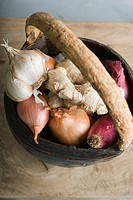 Onion, garlic, and ginger root in basket