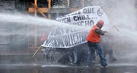 Valparaiso, Chile May 21, 2010 demonstrators during a protest march that began when President Sebastian Piñera submit its annual report to Congress on...