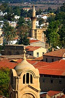 Cyprus, Nicosia, Panayia Faneromeni church and the mosque of Selim at back