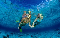 Two snorkeling girls, Bali Indian Ocean, Indonesia