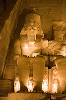 Colossal Statue of Pharao Ramses II. during Lightshow, Abu Simbel, Egypt