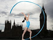 Girl gymnast with ribbon in westminster
