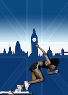 Athlete and london skyline