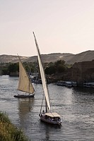 Feluccas on Nile River, Aswan, Egypt