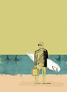 Businessman with surfboard on beach