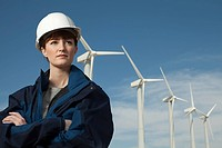 Female engineer at wind farm