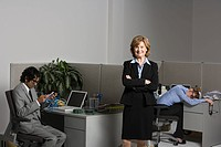 Exhausted woman with boss and businessman